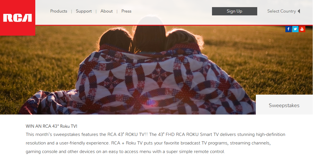 RCA 43″ Roku TV Sweepstakes - Enter Online Sweeps