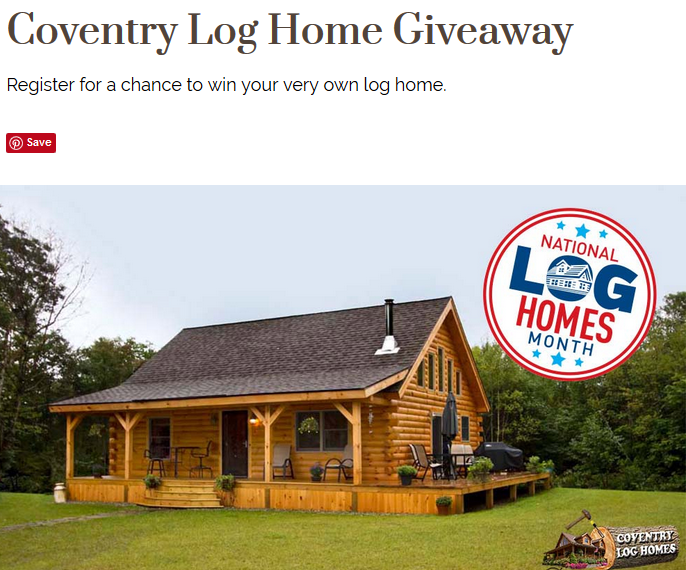 Coventry Log Homes Giveaway