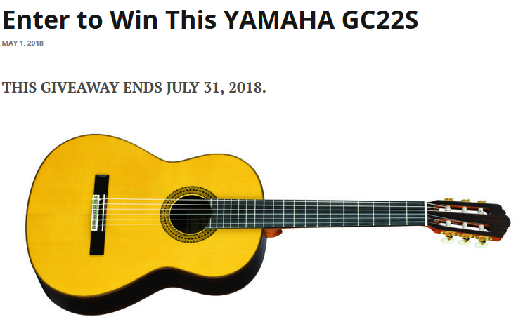 Classical Guitar Yamaha Sweepstakes - Enter Online Sweeps