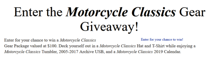 Motorcycle Classics Gear Giveaway