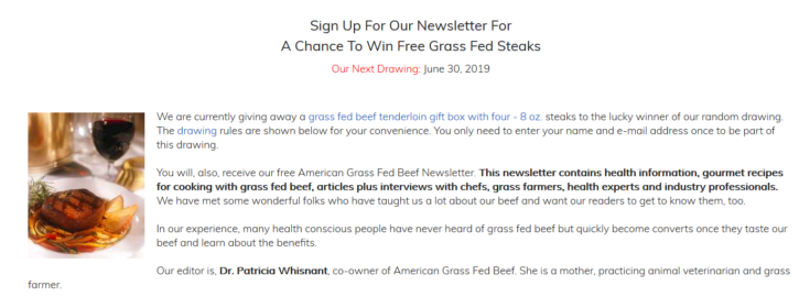 Grass Fed Steak Drawing Giveaway