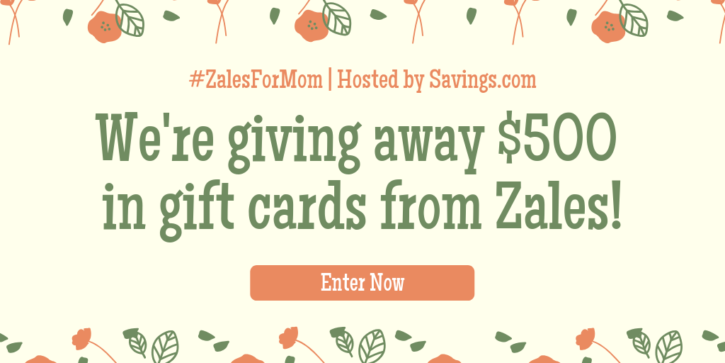 We're giving away 5 $100 gift cards from Zales to help bring awareness to the great deals Zales is offering on Mother's Day gifts!