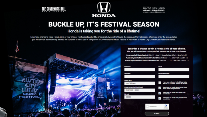 Honda Stage Sweepstakes